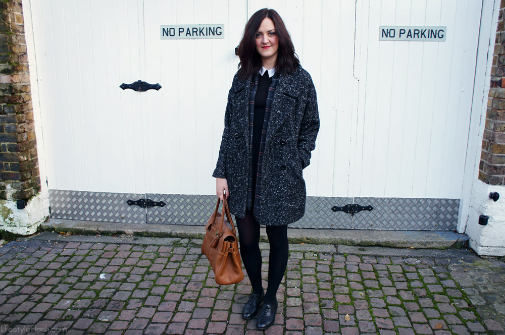 AW12 outfit | tweed coat, French Connection collar dress, Jones brogues, Mulberry Bayswater bag