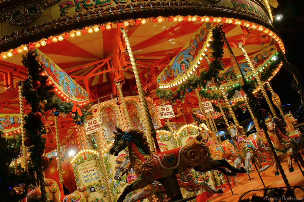 The London Southbank carousel at night