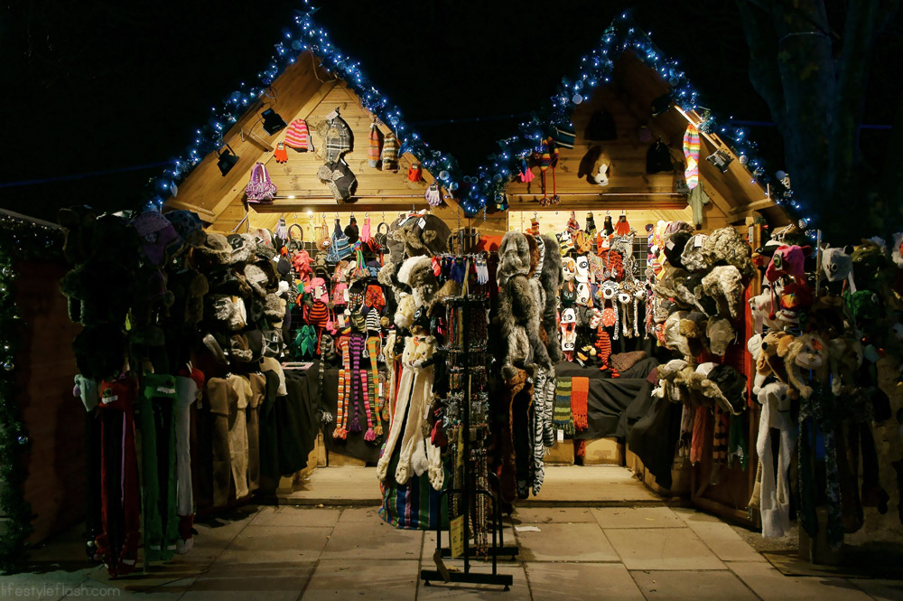 Hat stall at London's Southbank Christmas Market 2012