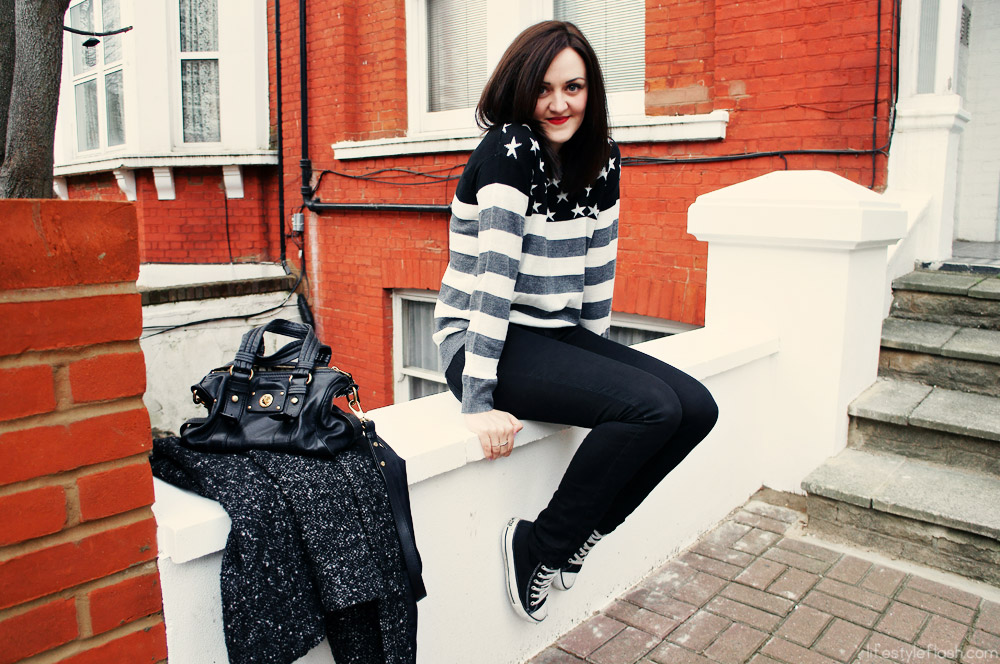 AW12 outfit | Stars & stripes jumper, black skinny jeans, Converse hi-tops