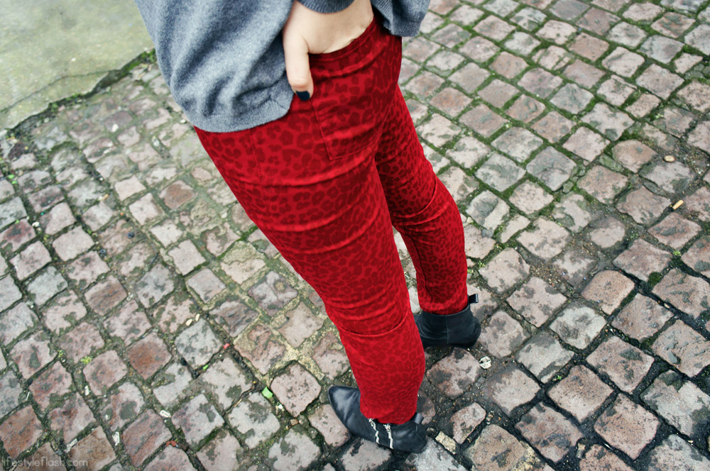 Red animal print jeans, ankle boots