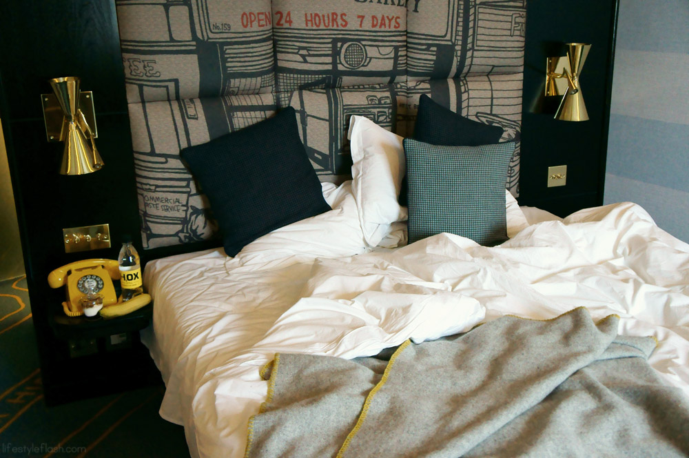 Our bed at the Hoxton Hotel, London