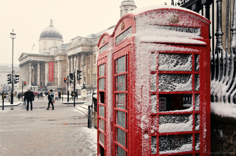 Old red phone boxes and London's National Gallery in the snow
