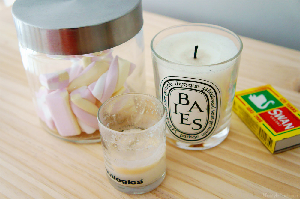 Diptyque and Dermologica candles & marshmallows