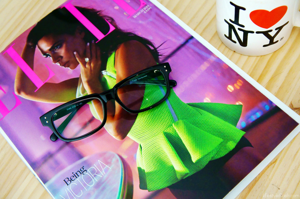 ELLE UK (March 2013), Firmoo geek glasses, I Heart NY mug