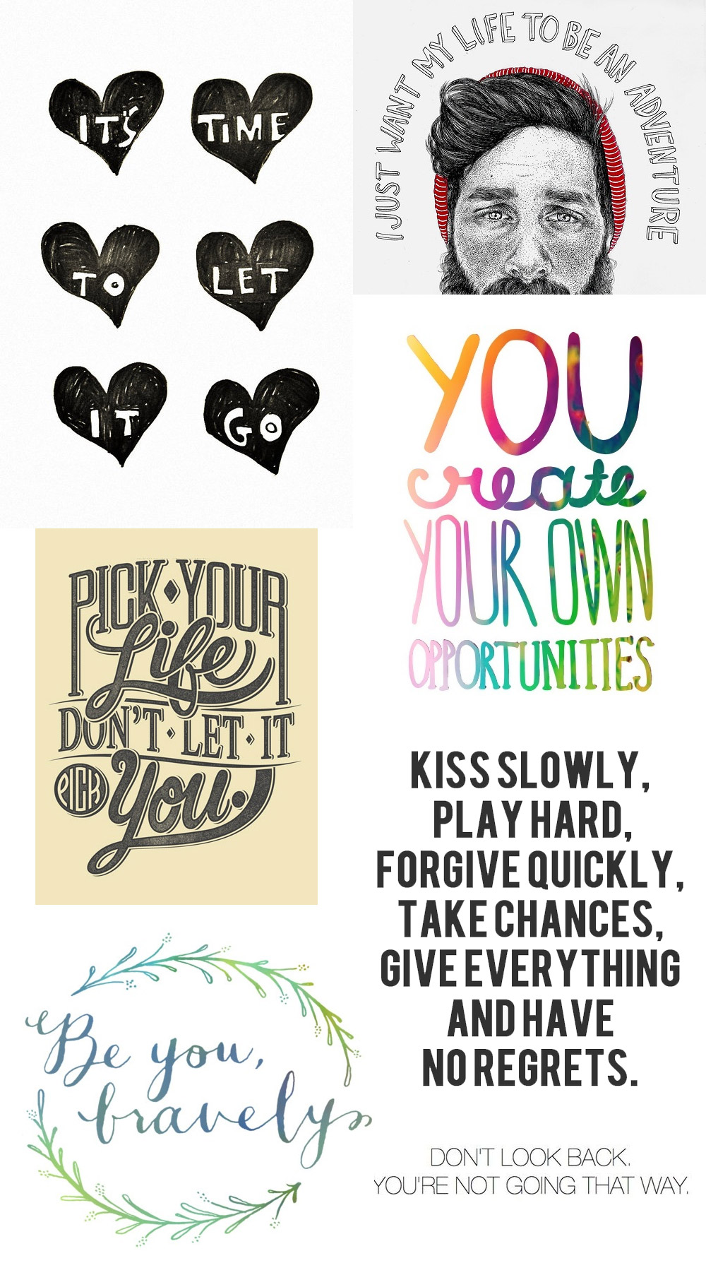 Inspiration life quotes collage