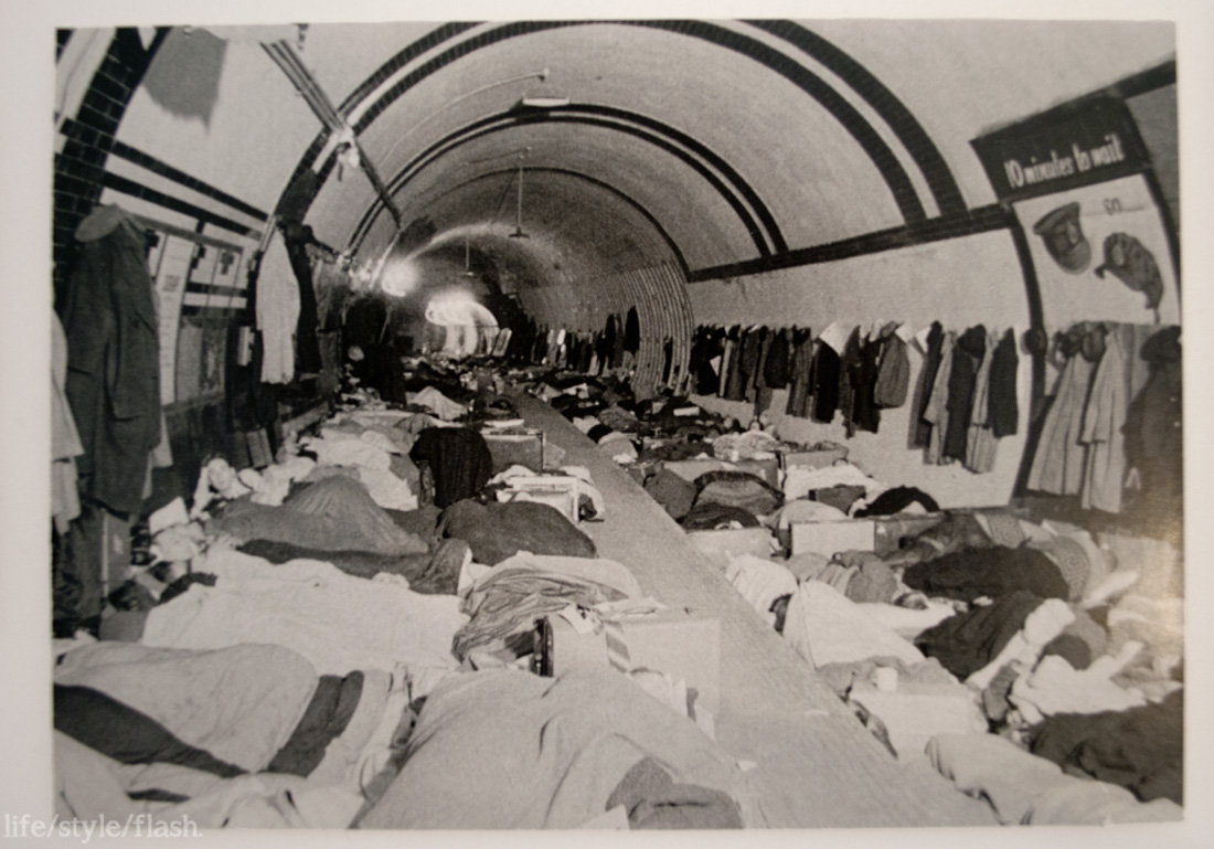 Photo of a bomb shelter in the Underground, in IWM London