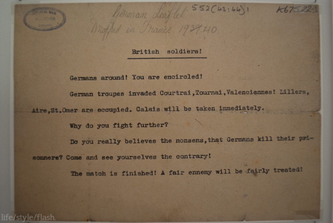 Note from the Nazi's to British soldiers, in IWM London