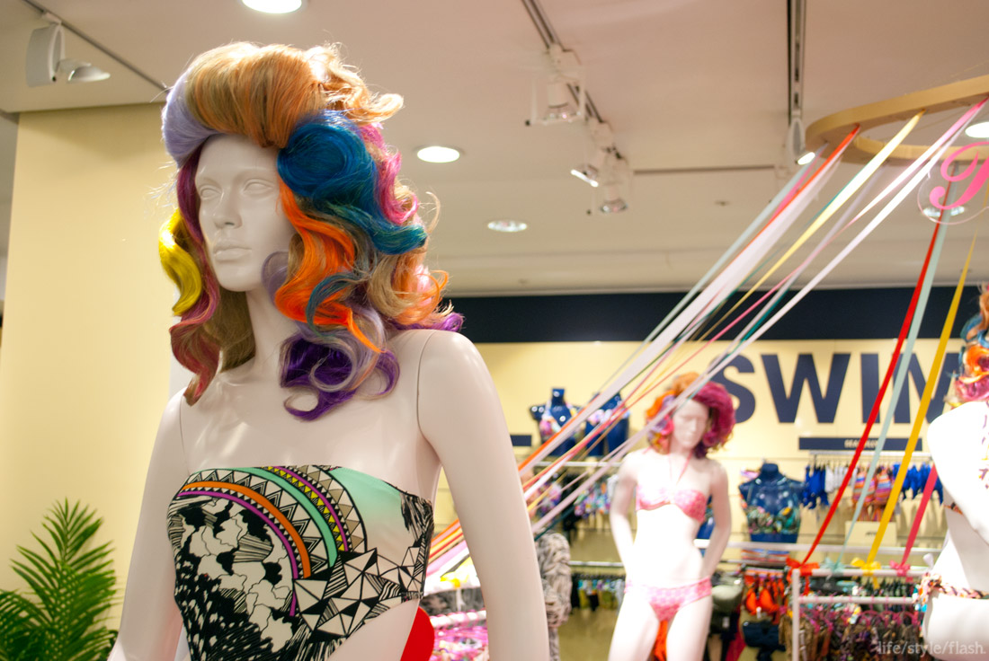 Pistol Panties at Selfridges pop-up swimwear shop, March-May 2012: mannequins and rainbow-coloured ribbons