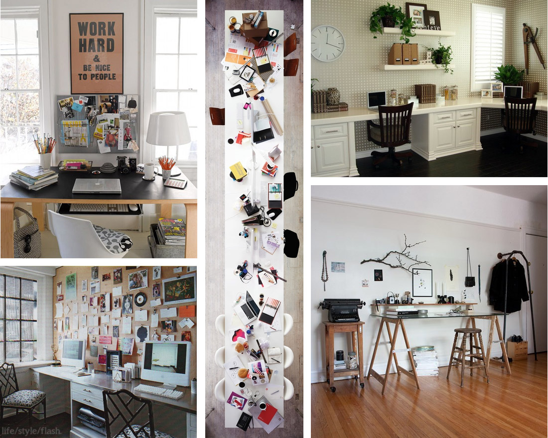 Collage of lovely, organised workspaces