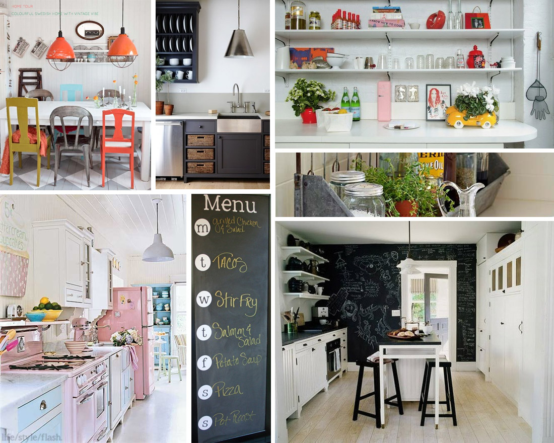 A collage of stylish kitchens