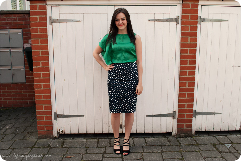Outfit - Spotty M&S pencil skirt, green OASIS top, strappy Clakrs sandals/wedges
